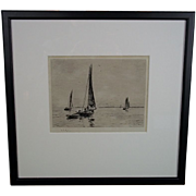 William L. Wyllie (1851-1931), Etching Of Fishing Boats, Signed