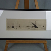 William L. Wyllie (1851-1931) - Etching Of Royal Navy Warships On Manoeuvres, Signed