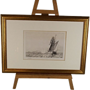 "Framed W.L.Wyllie Etching ""Naval Engagement  Of The Q Ship Probus"""