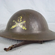 British 1917 Machine Gun Corps Officers Brodie Helmet With Liner