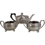c1940 Arts & Crafts Style Hammered Pewter 3 Piece Tea Service By A.E. Poston