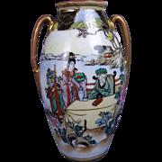 Small Noritake Hand Painted Vase Of Geisha & Elder