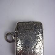 Sterling Silver Engraved Vesta Case, Birmingham 1894, 21.3g
