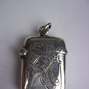 Sterling Silver Engraved Vesta Case, Chester 1911, 10.8g