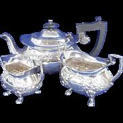 A Heavy Silver Three Piece Teaset - Birmingham 1905, 745g