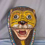 Carved Wood and Paper Mache Tiger For Advertising, Pushkar