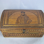 French Prisoner Of War c1810 Decorated Straw Work Jewellery Casket With Duke Of Wellington Lid