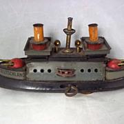 """c1905 German Tinplate Clockwork Battleship """"Deutschland"""" By Hess Of Nuremburg"""