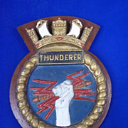 HMS Thunderer Wood Mounted Metal Ships Plaque, Orion Class Battleship