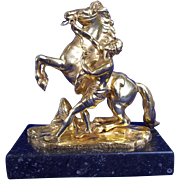 C1860 Small Bronze Marly Horse with Thick Gold Plated Finish