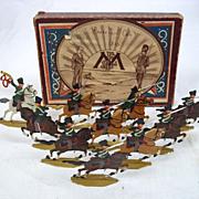 Circa 1900 M F Ltd. Prussian Cavalry 1815. Vintage Tin/Lead Flat Soldiers.