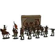 Circa 1900 Russian Infantry 1815 Vintage Tin Flat Soldiers by M.F. Ltd, Boxed
