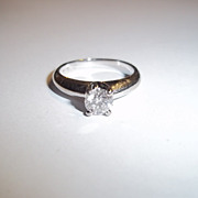 18 Ct White Gold 4 Prong Brilliant Cut Diamond I-2 G Solitaire Ring 0.52 Carat
