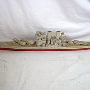 Old Sailors Scratch Built Model Of A Battleship 'HMS Thunderer' Circa WW2