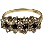 9ct Gold, 0.28 CTW Sapphire & 1.26 CTW Zircon Boat Style Ring Size P, 2.6 g
