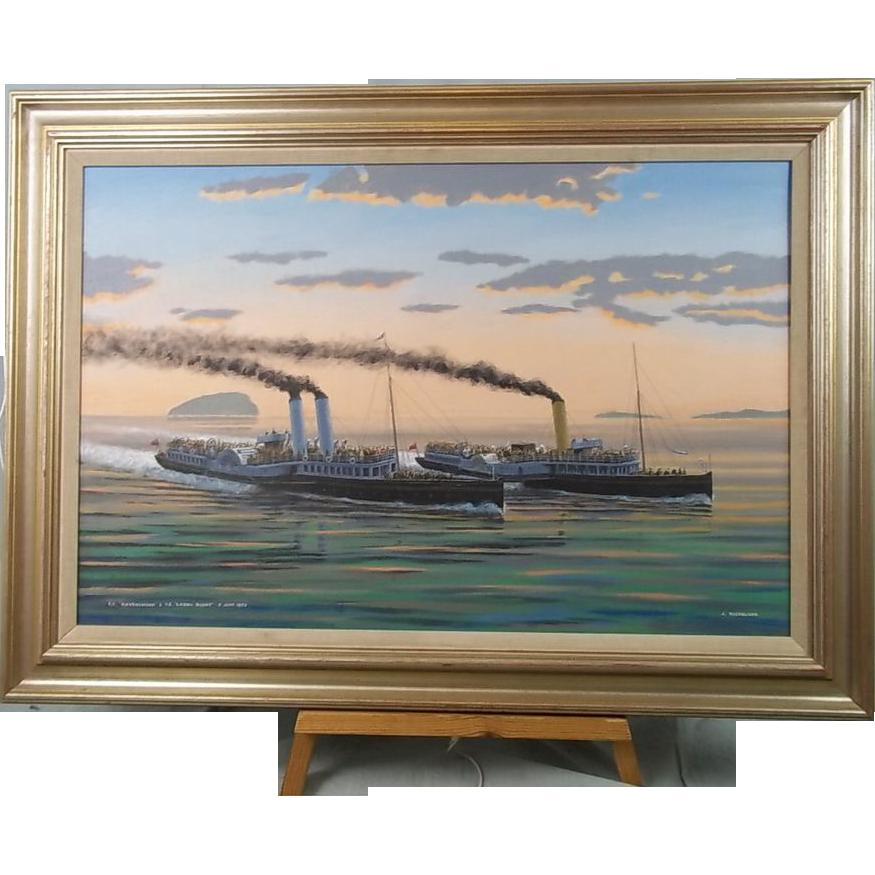 P.S. Ravenswood & P.S. Lorna Doone 1893 John Nicholson b1920 Oil On Canvas