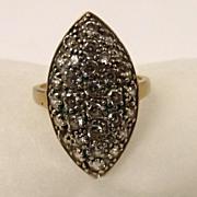 9ct Gold Cubic Zirconium UK Size O US Size 7 1/4 Shield Shaped Ring
