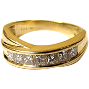 Cross Over 18ct Gold & Diamond Ring Size N 1/2  US 7
