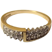Vintage 14ct Gold Zircon 0.20 CTW Ring, UK Size N (US 6 3/4) (London, 1970)