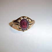 Vintage 9 Ct Yellow Gold & 2.5 Ct Paste Ring, Size T (US 9 3/4)