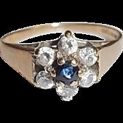 Vintage 9Ct Gold 0.1 Carat Sapphire & 0.42 CTW Zircon's Flower Shape Ring Size K