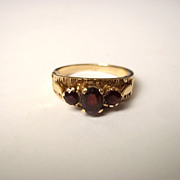 "9ct Gold 3 Stone Garnet Ring, Size ""L 1/2"" / 6 US"