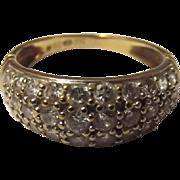 9ct Gold 30 Stone Zirconia (30ct) Ring UK Size L (US 5 3/4)