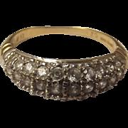 9ct Gold 30 Stone Zirconia Ring, Size M UK 6 1/4 US