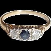 9 Ct Gold 0.1 Ct Sapphire & 0.14 CTW Zircon LOVE Mount Ring, Size M (US 6 1/4)