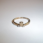 9ct Gold 0.1 Zircon Crown Ring, Size O (US 7 1/4)