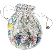 Edwardian c1910 Beadwork Ladies Drawstring Purse/Pouch Hand Made in Belgium