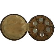 Edwardian Cased Set Of Six Mother Of Pearl Buttons Rose Gold Backed
