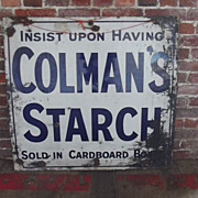 Original Large 1920's Colman's Starch Advertising Sign Enamel On Steel Sign 38 By 36 Inches
