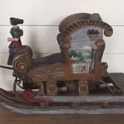 Circa 1900 Austrian Child's Wood Carved Hand-Painted Sleigh