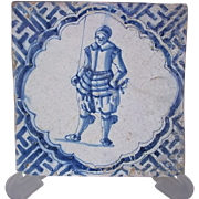 17th century Dutch Tile Young Armoured Soldier Chinese Wan-Li corner motifs