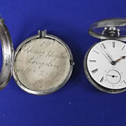 Pair Cased Silver Fusee Pocket Watch - Birmingham 1855 - James Heales