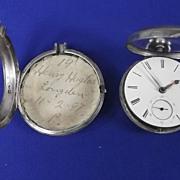 Pair Cased Silver Fusee Pocket Watch - Birmingham 1855 - James Heales