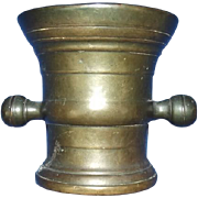 18th Century Apothecary Bronze Mortar With Handles And Banding