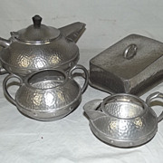 Arts & Crafts Sheffield 3 Piece Hammered Pewter Tea Set & Similar Butter Dish