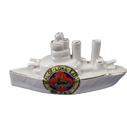 Arcadian Crested China Model Of A Battleship, Seal Of Eaton
