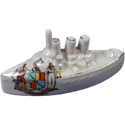 Carlton Crested China Model Of A WW1 Battleship, Forward Birmingham