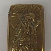 Brass Oriental Geisha Themed Vesta Case With Cockerels c1880
