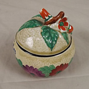 Clarice Cliff Hand Painted Lidded Preserve Honey Pot 'Gayday' Design. c. 1930