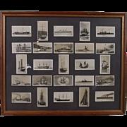 "Framed Full Original Set Of 25 Carreras ""Notable Ships Past & Present"" Cigarette Cards 1929"