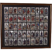 "Framed Full Original Set Of 50 Player's ""History Of Naval Dress"" Cigarette Cards"