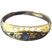 9ct Gold Boat Ring Set With Diamond and Sapphire Size O (US 7 1/4) 1.9g