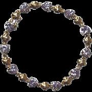 "9 Ct Gold Purple Glass & Clover Pattern Bracelet, 7.25"""