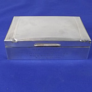 Silver Cigarette Box - Birmingham 1949 - With Engine Turning HMS Shackleton