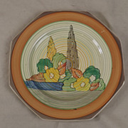 1930's Octagonal Decorative Stylized Forest Clarice Cliff Capri Pattern Plate