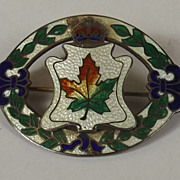 WW1 Sterling Silver & Enameled Canadian  Sweetheart Brooch